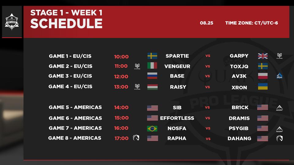 Quake Pro League Stage 1 – Week 1