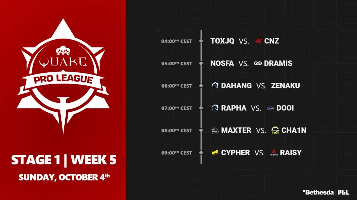 Tune in for the Pro League stage 1 week 5 this Sunday