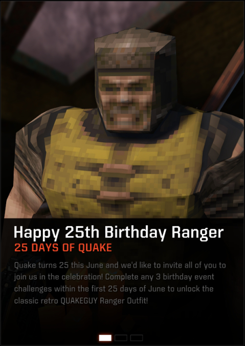 25th Birthday event for Ranger! Unlock retro QUAKEGUY Ranger outfit!