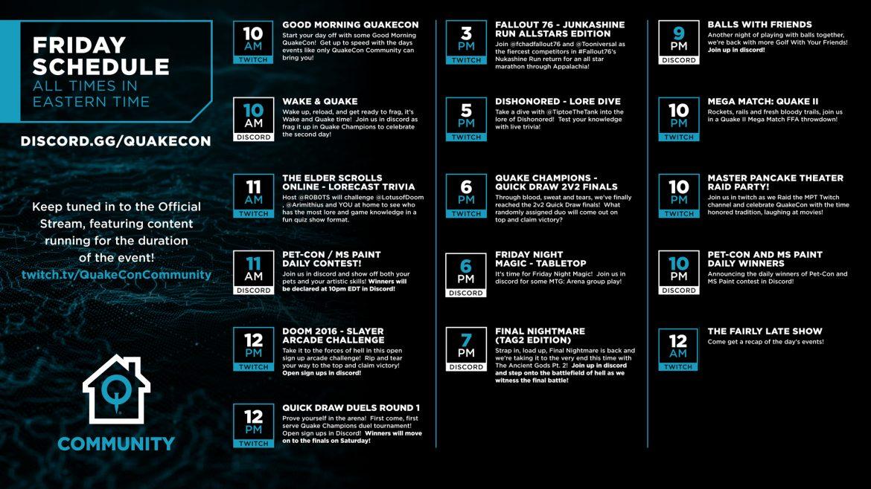 FRIDAY #QuakeCon Community Schedule