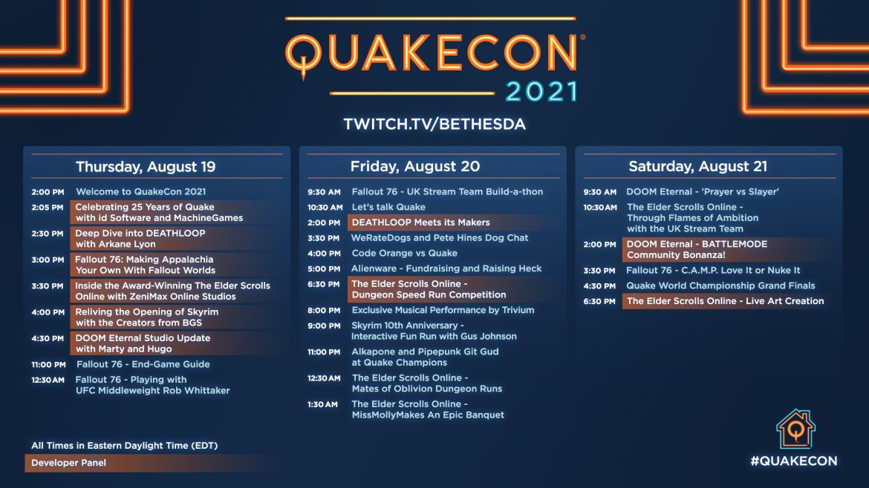 QuakeCon 2021 Schedule Is Live!